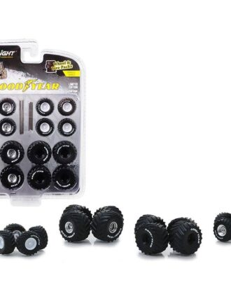 """""""Goodyear"""" Wheels and Tires Multipack """"Kings of Crunch"""" Set of 24 pieces """"Wheel & Tire Packs"""" Series 2 1/64 by Greenlight (Black)"""