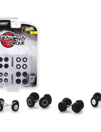 """""""Tokyo Torque"""" Wheels and Tires Multipack Set of 24 pieces """"Wheel & Tire Packs"""" Series 2 1/64 by Greenlight - Black (Black)"""