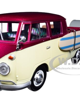 Volkswagen T1 Pickup Truck Purple and Cream with Surfboard Accessories and Gray Teardrop Trailer 1/24 Diecast Model Car by Motormax